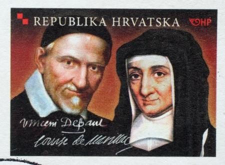 CROATIA - CIRCA 2010: Stamp printed in Croatia dedicated to St. Vincent de Paul and Louise de Marillac, circa 2010