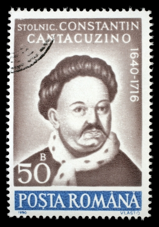 constantin: ROMANIA - CIRCA 1990: A stamp printed in Romania, shows portrait of Constantin Cantacuzino, 1640 - 1716, (chronicler), with the same inscription, from the series Anniversaries , circa 1990