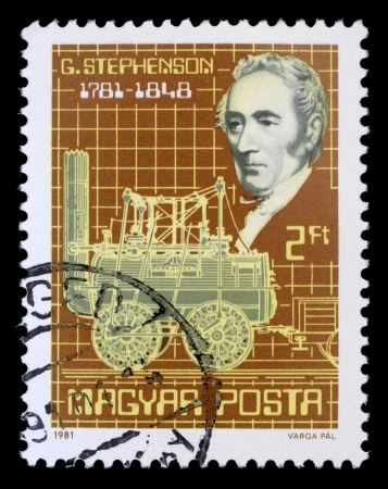 HUNGARY - CIRCA 1981: stamp printed by Hungary, shows George Stephenson and his steam locomotive, circa 1981