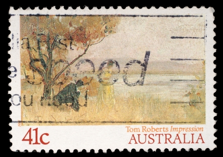 AUSTRALIA - CIRCA 1989: A stamp printed in Australia shows draw by Tom Roberts \'Impression Mentone\', circa 1989