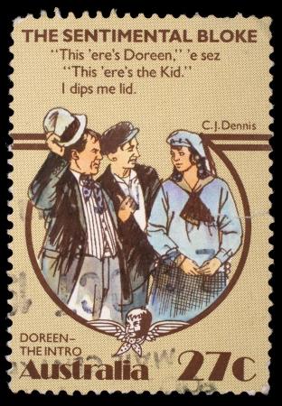 bloke: AUSTRALIA - CIRCA 1983: timbro stampato in Australia, mostra il tizio sentimentale, da Dennis CJ, intorno al 1983 Editoriali