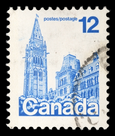 philately: CANADA - CIRCA 1977: A stamp printed in Canada shows Parliament Buildings, circa 1977