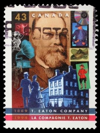 canada stamp: CANADA - CIRCA 1994: stamp printed by Canada, shows T. Eaton Company, 125th Anniv., circa 1994