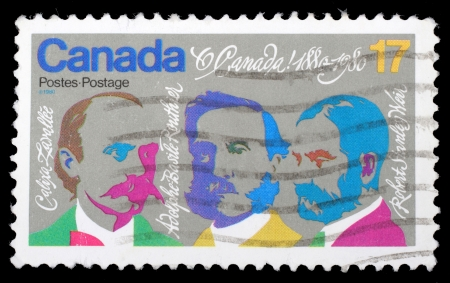 canada stamp: CANADA - CIRCA 1980: stamp printed by Canada, shows Composers Lavallee, Routhier, Weir, circa 1980 Editorial
