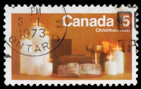canada stamp: CANADA - CIRCA 1973: A greeting Christmas stamp printed by Canada, circa 1973
