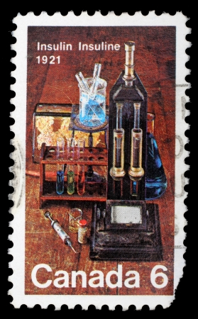 discovery: CANADA - CIRCA 1971: stamp printed by Canada, shows Laboratory Equipment Used for Insulin Discovery, circa 1971