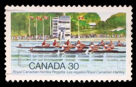 canada stamp: CANADA - CIRCA 1982: stamp printed by Canada, shows Royal Canadian Henley Regatta, circa 1982 Editorial