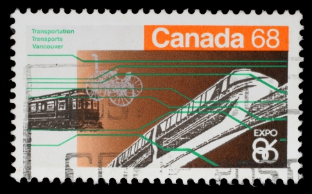 canada stamp: CANADA - CIRCA 1986: A stamp printed in Canada from the Expo 86 World Editorial