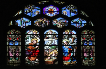 holy cross: Nativity Scene, stained glass window in Saint-Eustache church, Paris, France Editorial