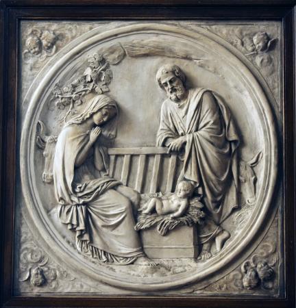 jesus birth: Belén, Saint Etienne du Mont Iglesia, Paris Foto de archivo