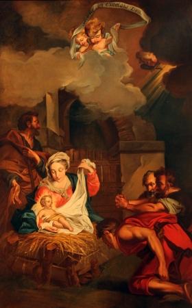 angeles bebe: Bel�n, la Adoraci�n de los pastores, Saint Etienne du Mont Iglesia, Paris Editorial