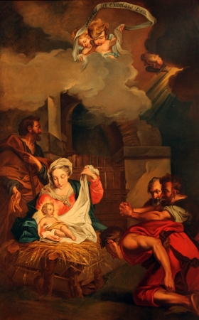 Kerststal, Aanbidding van de Herders, Saint Etienne du Mont Kerk, Parijs Redactioneel
