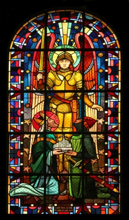 Saint Michael, stained glass, Notre Dame de Clignancourt church, Paris, France