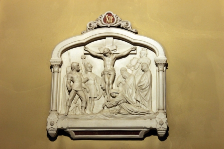 12th Stations of the Cross, Jesus dies on the cross , Notre Dame de Clignancourt church, Paris, France photo