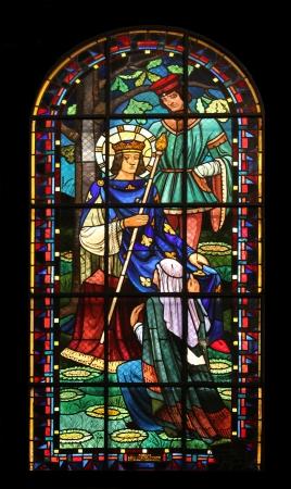 ix: Saint Louis IX of France, stained glass, Notre Dame de Clignancourt church, Paris, France