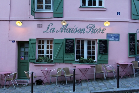 PARIS - NOVEMBER 04, 2012: La Maison Rose restaurant on Montmartre in Paris on November 04, 2012. La Maison Rose is a most tourist attraction on Montmartre