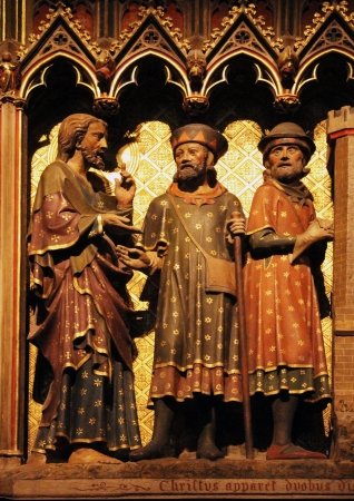 disciple: Paris, Notre Dame cathedral, Jesus and two disciple on the road to Emmaus Editorial