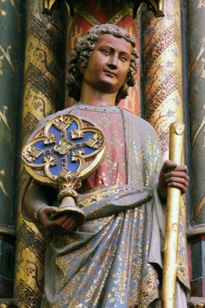 place to shine: Statue of the Apostle, La Sainte Chapelle in Paris, France