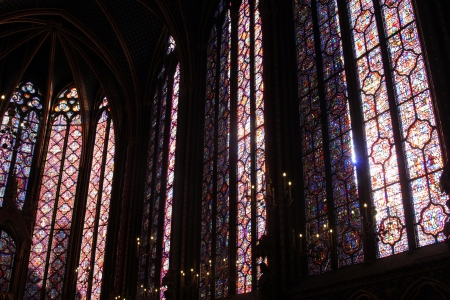 place to shine: Stained glass window in La Sainte-Chapelle in Paris, France
