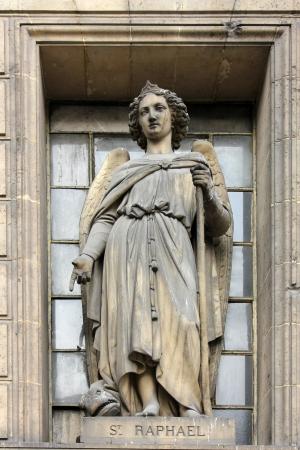 madeleine: Archangel Raphael, Madeleine church in Paris Stock Photo