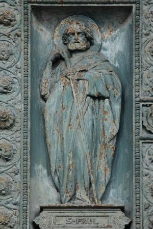 Saint Paul, detail of door of Saint Vincent de Paul church, Paris photo