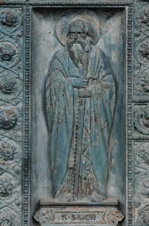 Saint Simon, detail of door of Saint Vincent de Paul church, Paris photo