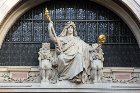 headquartered: Statue of prudence on the BNP building in Paris on Nov 11, 2012 in Paris  BNP Paribas S A  is a French global banking group, headquartered in Paris