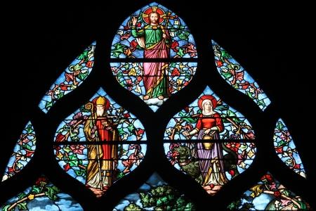 martha: Holy bishop  Lazarus  , St  Martha, Christ, stained glass, Saint Severin church, Paris, France Editorial