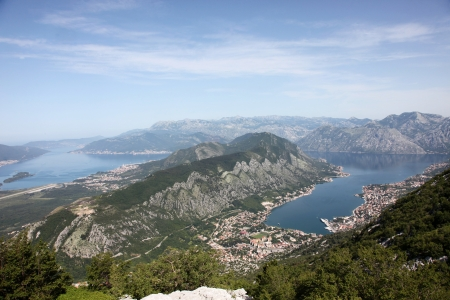 Panorama UNESCO World Heritage Site bay of Kotor with high mountains plunge into adriatic sea and Historic town of Kotor, Montenegro photo