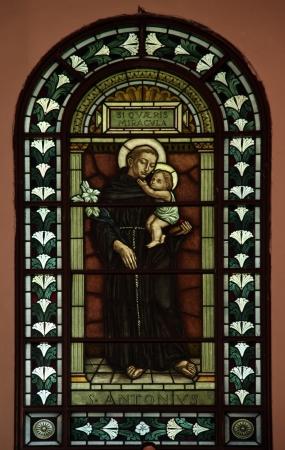 sainthood: Saint Anthony of Padua, Stained glass in Catholic church of Saint Anthony of Padua, Cetinje, Montenegro
