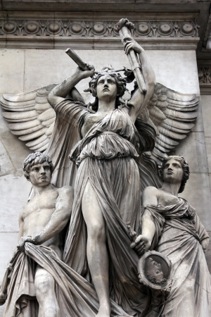 lyrical: Architectural details of Opera National de Paris  Lyrical Drama Facade sculpture by Perraud  Grand Opera  Garnier Palace  is famous neo-baroque building in Paris, France -