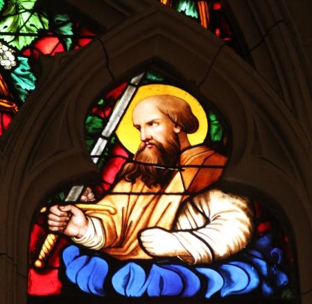 apostle paul: Saint Paul apostle, stained glass window from Saint Germain-l Auxerrois church, Paris