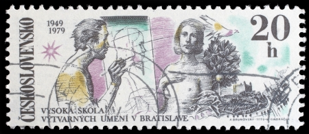 CZECHOSLOVAKIA - CIRCA 1979  A stamp printed in the Czechoslovakia, dedicated to 30th anniversary of the Fine Arts Academy, Bratislava, shows the Artist and Model, Dove, Bratislava Castle, circa 1979