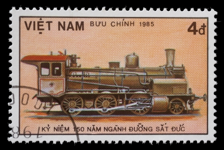 VIETNAM - CIRCA 1985  A stamp printed in Vietnam showing steam locomotive, circa 1985