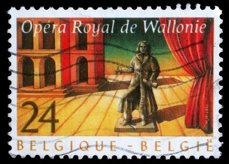 wallonie: BELGIUM - CIRCA 1987  stamp printed by Belgium shows Royal Opera of Wallonie, circa 1987 Editorial