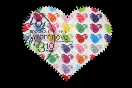 timbre: CROATIA - CIRCA 2012  stamp printed by Croatia shows heart, dedicated to Valentine Editorial
