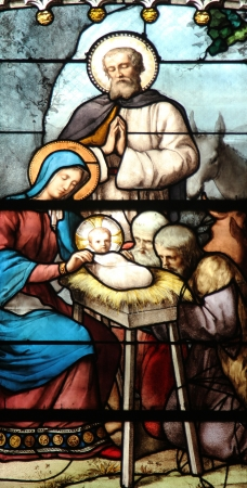 Nativity Scene, Adoration of the Shepherds, stained glass, Saint Severin church, Paris, France