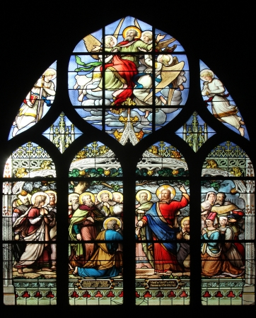 Jesus gives Peter the keys to the Kingdom, stained glass, Saint Severin church, Paris, France