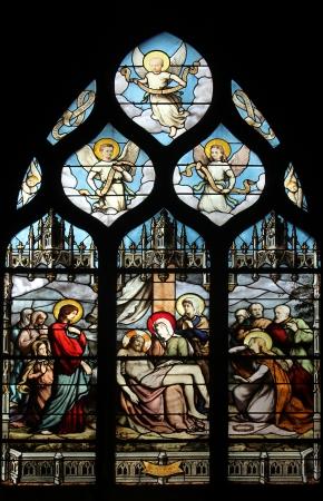 Pieta, stained glass, Saint Severin church, Paris, France