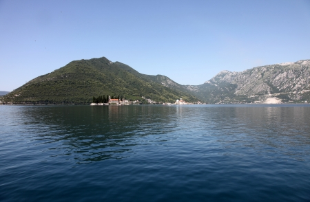 View on St George  left  and Our Lady of the rocks  right , Perast, Montenegro photo