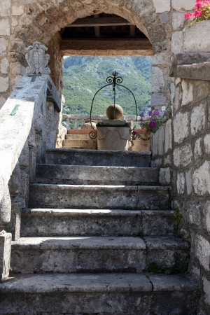Fragment of Our Lady of the Rock church in Perast, Montenegro photo
