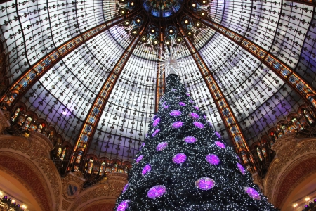 christmas perfume: PARIS - NOVEMBER 11  The Christmas tree at Galleries Lafayette, trade pavilions with perfume, November 11, 2012, Paris, France  Many famous perfume brands represent their production here