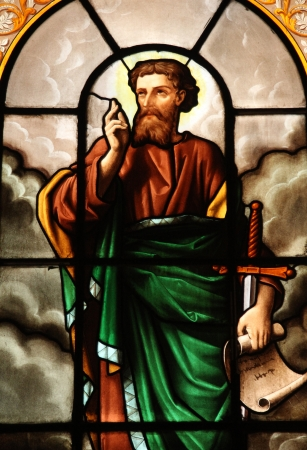 Saint Paul, stained glass, St  Elizabeth of Hungary church, Paris Editorial