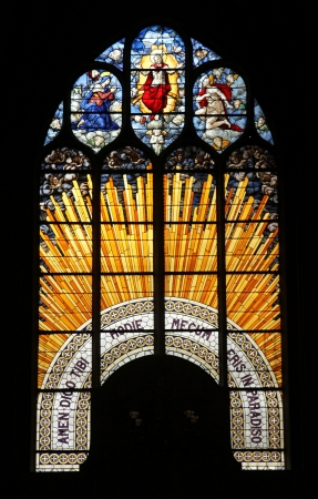 the majesty: Christ in Majesty , stained glass, Church of St  Gervais and St  Protais, Paris
