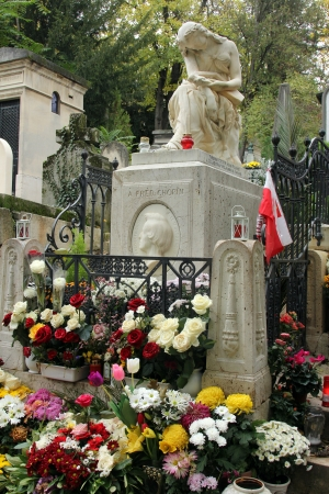 chopin: Tomb of Frederic Chopin, famous Polish composer, at Pere Lachaise cemetery in Paris