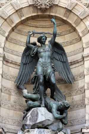 michael the archangel: Fountain Saint-Michel at Place Saint-Michel in Paris, France  It was constructed in 1858-1860 during French Second Empire by architect Gabriel Davioud  Archangel Michael and devil by Francisque Duret