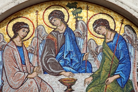 sacred trinity: Mosaic over the entrance of the Holy Trinity Orthodox Church in Budva, Montenegro