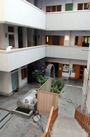 The inner courtyard at Mother House, where Mother Teresa used to live on Nov 25, 2012 in Kolkata, West Bengal, India