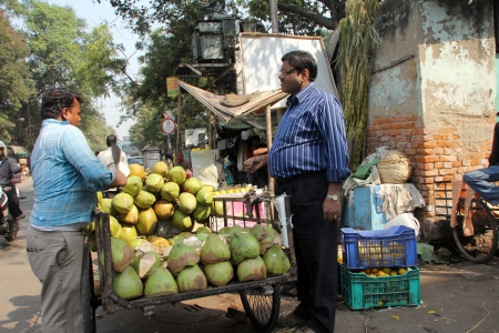 Seller sells coconuts on the outdoor market on November 28, 2012 in Kolkata  Only 0 81  of the Kolkata