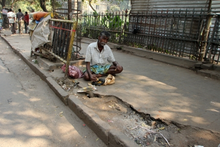 disadvantaged: Streets of Kolkata  Thousands of beggars are the most disadvantaged castes living in the streets on November 28, 2012 in Kolkata, India  Editorial